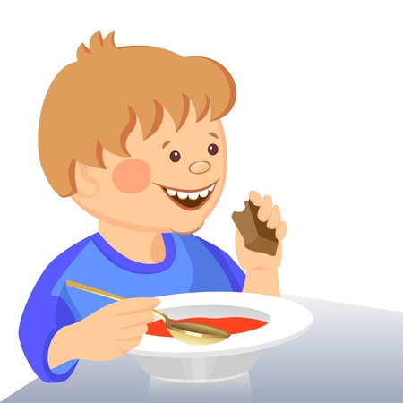 cute boy eats with a spoon from a bowl Vector