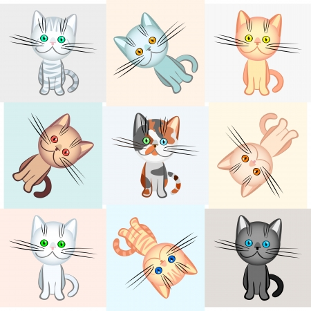 vector background with a picture of kittens of different colors, plain, striped and spotted Stock Vector - 9441759