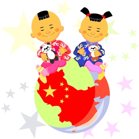national costume: vector Chinese boy and girl  in national costume sit against the background of the globe, the stylized image of China, the Chinese flag