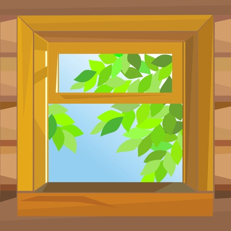 wooden window: open wooden window  farmhouse on a summer day Illustration