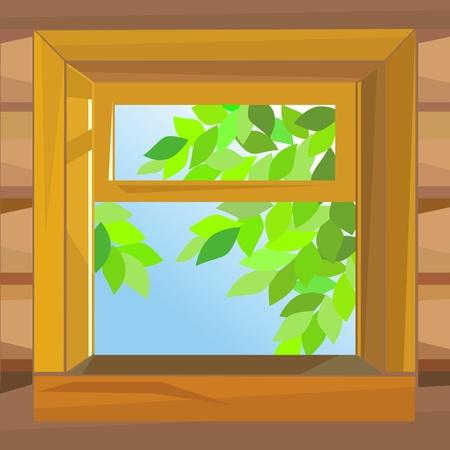 open wooden window  farmhouse on a summer day Stock Vector - 9468056