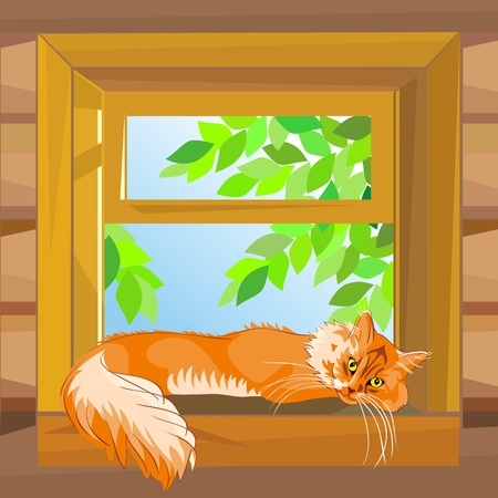 windowsill: red fluffy tabby cat on a summer day lying on a windowsill at the open window wooden farmhouse Illustration
