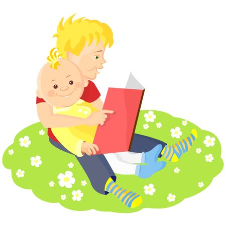 two boys sitting on a green lawn with white flowers and read a book Vector
