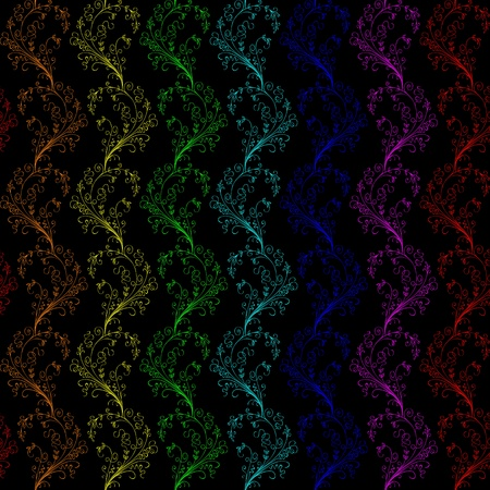 seamless floral pattern of rainbow colors on a black background Stock Vector - 9468065