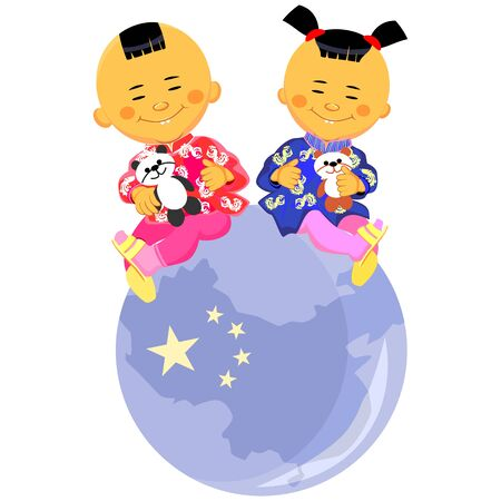 vector Chinese boy and girl  in national costume sit against the background of the globe, the stylized image of China Vector