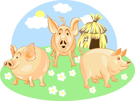 Three Little Pigs from a green background on a straw house