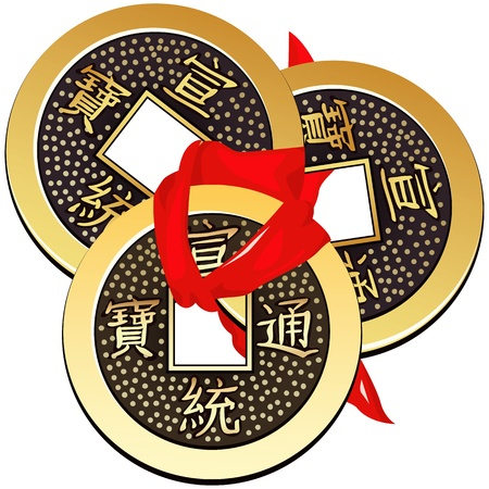 chinese coin tied with red ribbon. a square within a circle of ancient chinese coins of the tang dynasty, copies of which are used in feng shui.  Иллюстрация