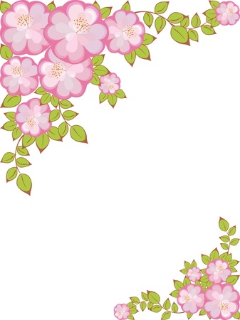 marco rectangular con un patrón de flores púrpura de la Rosa en las esquinas