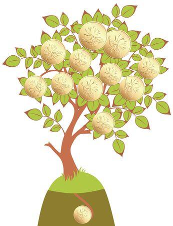 embedding: stylized money tree isolated on white background Illustration