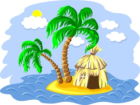 thatched: tropical landscape of the island in the ocean and two palm trees and hut