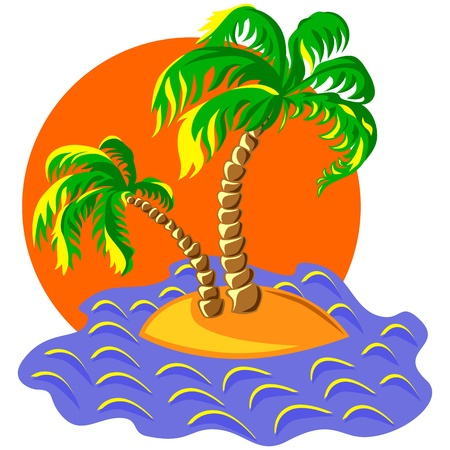 tropical landscape of the island in the ocean and two palm trees at sunset