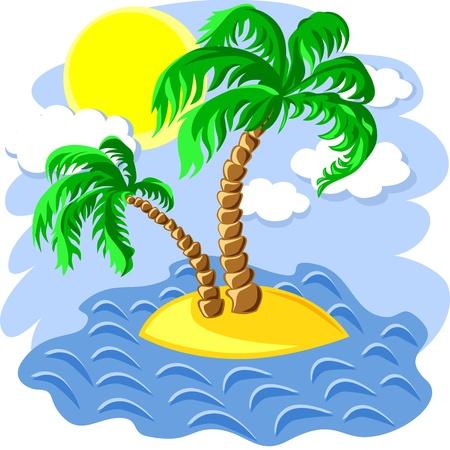 정오: tropical landscape of the island in the ocean and two palm trees at noon