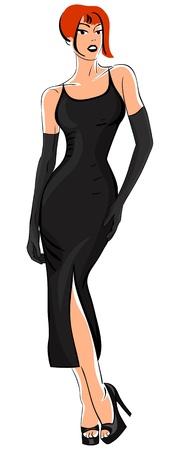 foxy girls: bella ragazza in un vestitino nero isolato su sfondo bianco Vettoriali