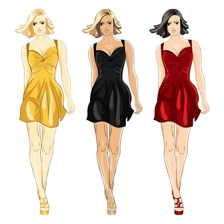 yellow hair: belle ragazze in un piccolo abito nero, rosso e oro colori isolati su sfondo bianco Vettoriali