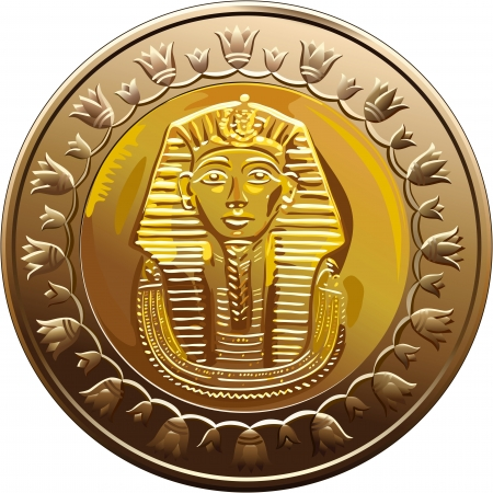 egyptian: Arab Republic of Egypt, the coin of 1 pound, shows the pharaoh Tutankhamen