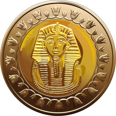 Arab Republic of Egypt, the coin of 1 pound, shows the pharaoh Tutankhamen Stock Vector - 9887930