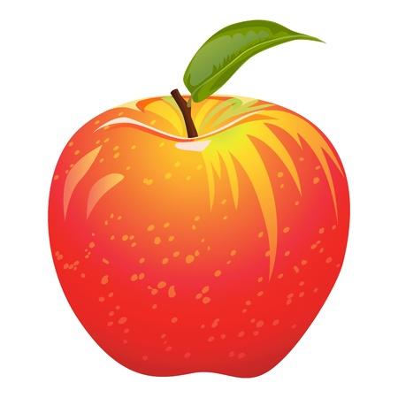 pomme: Pomme rouge juteuse isol�e sur un fond blanc