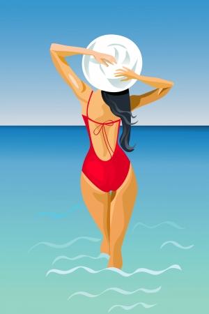 back of woman: Una esbelta joven de pelo oscura entra en el mar Vectores
