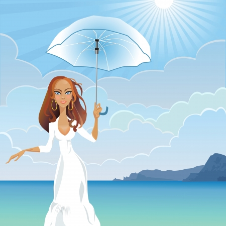 beautiful young girl with long dark hair with an umbrella against the sea and the mountains on a sunny day Stock Vector - 9887943