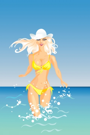 sun bathing: beautiful blond girl with long hair in a white hat and yellow bathing suit enters the sea Illustration