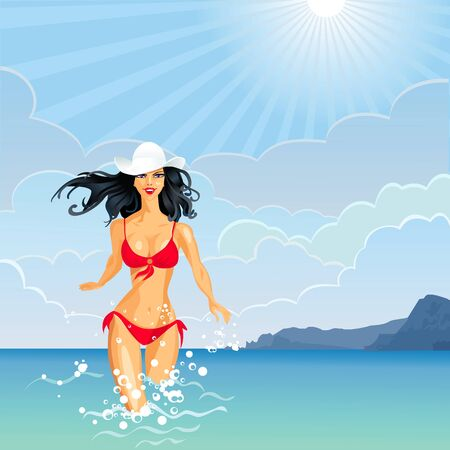 enters: beautiful brunette girl with long hair in a white hat and red bathing suit enters the sea