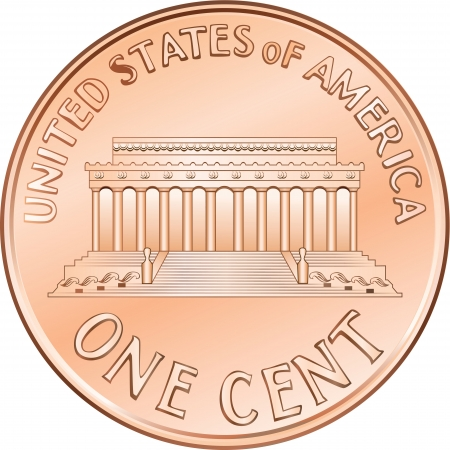 American money, one cent coin with the image of the Lincoln Memorial Vector