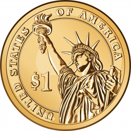 statue of liberty: American money, one dollar coin with the image of the Statue of Liberty