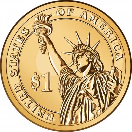 piece d or: L'argent am�ricain, pi�ce de un dollar � l'image de la Statue de la Libert� Illustration