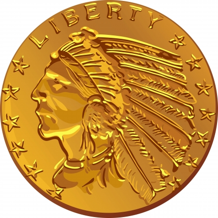 American money, dollar Gold Coin American early-twentieth-century image of Indians Vector