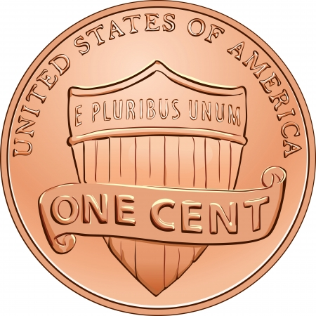 cent: American money, one cent coin with the image of a shield