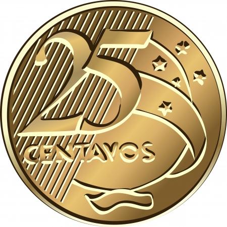 Brazilian money, twenty-five centavo bronze coin Stock Vector - 10091228