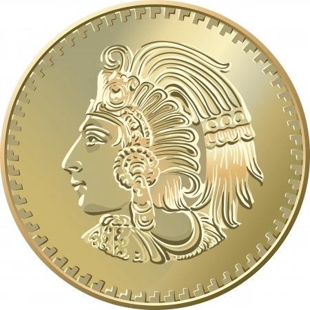 piece d or: L'argent du Mexique, Pi�ce en or avec l'image des Indiens