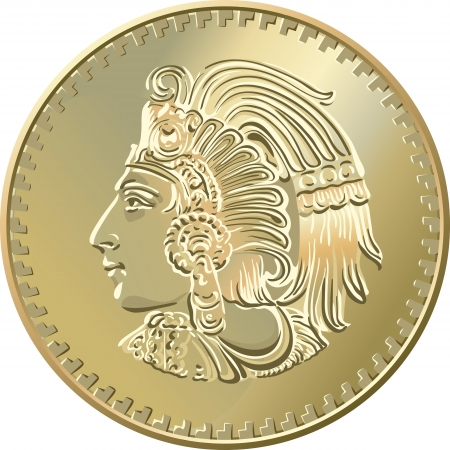 Mexican money, Gold Coin with image of Indians Vector