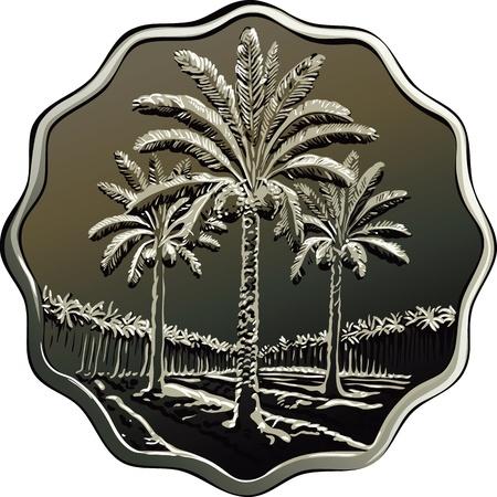 Moneda iraquí con la imagen de palmeras