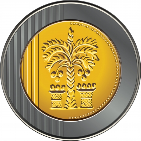 Israeli coin 10 shekel with the image of the date palm Vector
