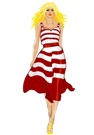 girl in red dress: top model beautiful long-haired young blonde girl in white dress in red stripes Illustration