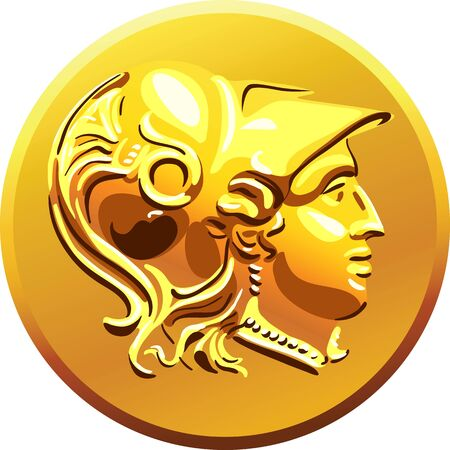 greek currency: Greek money, gold shiny old coin with the image of Alexander of Macedon in the helmet Illustration