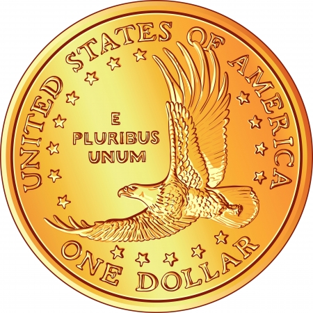 gold Dollar coin with the image of a flying eagle and stars Vector