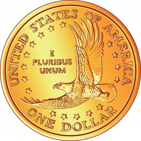 flying money: moneda de d�lar de oro con la imagen de un �guila volando y estrellas