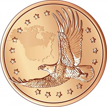 flying money: Monedas de un d�lar con la imagen de un �guila en vuelo y las estrellas Vectores