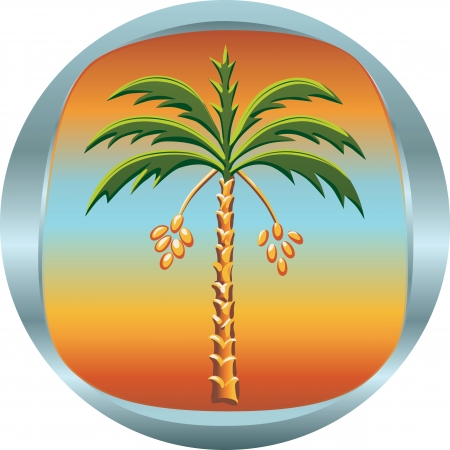 green dates: metal medallion with the date palm tree