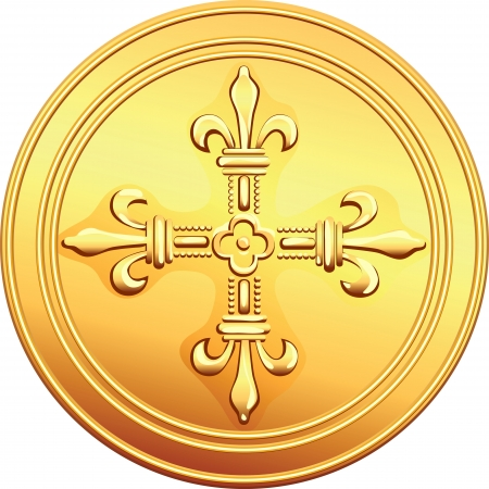 gold cross: old French gold coin with the image of a flowering crowns Cross