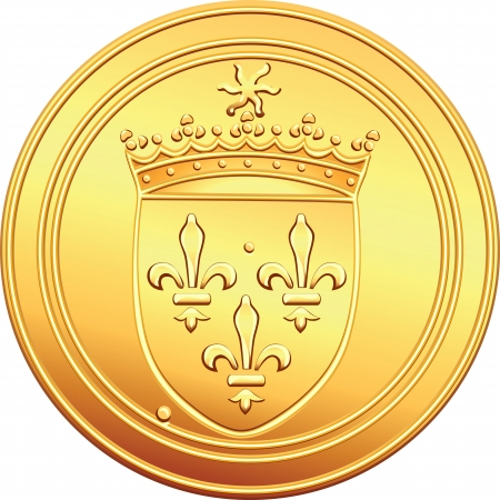 gold cross: obverse old French coin with the image of the shield crowns the coat of arms, crowned with the sun and the crown Illustration