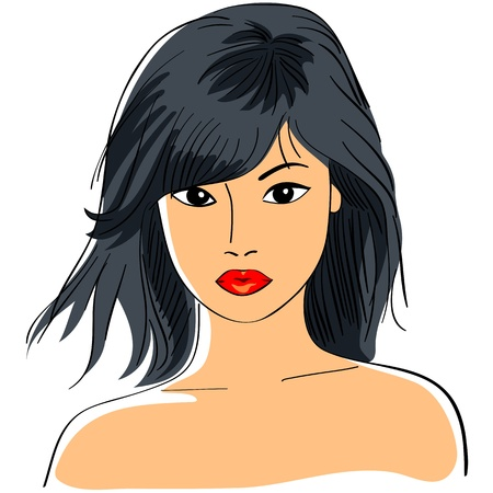 girl short hair: color close-up sketch of a beautiful young Asian girl with short black hair and a serious look