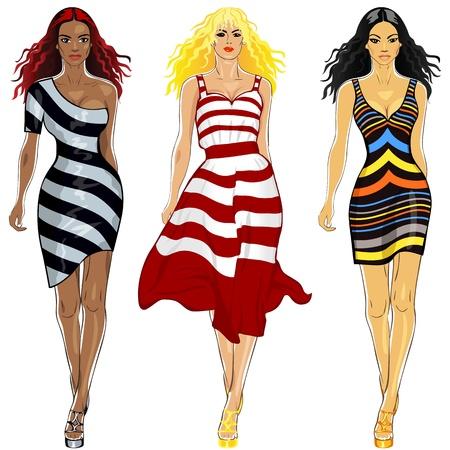 top model: top model mooie langharige jonge blonde Kaukasische, brunette Aziatische, zwarte meisjes in een gestreepte jurken