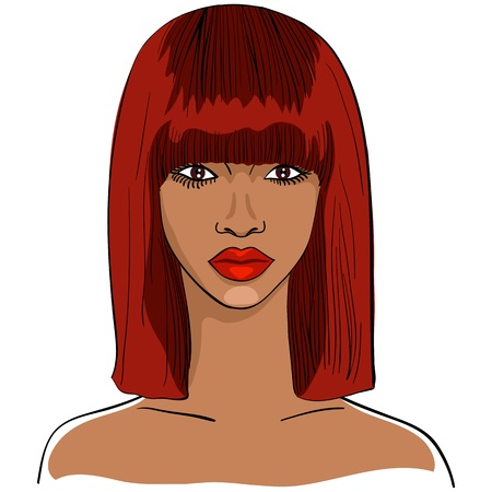 hair black color: color close-up sketch of a beautiful young black African girl with short red hair and a serious look