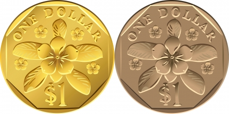 vector Singapore Dollar coins of different metals: gold and aluminum bronze with the image of the flower pink katarantus