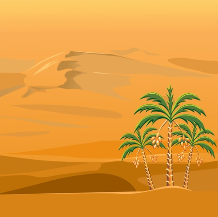 three palm trees against a background of brightly sunlit sandy desert