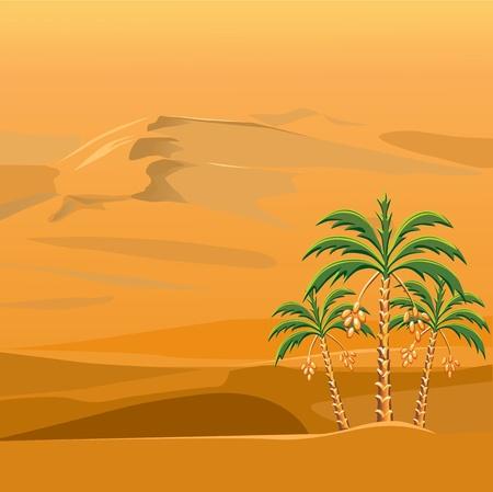 tres palmeras en un contexto de brillantes soleado desierto arenoso Ilustración de vector