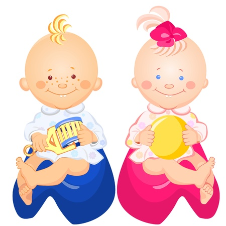 brown shirt: little baby boy and girl with a rattle and ball in his hand, smiling, sitting on the pots